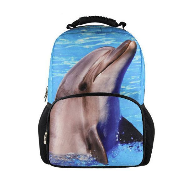 Animal Face Dolphin Kids Backpack For High School Teenagers Bookbag