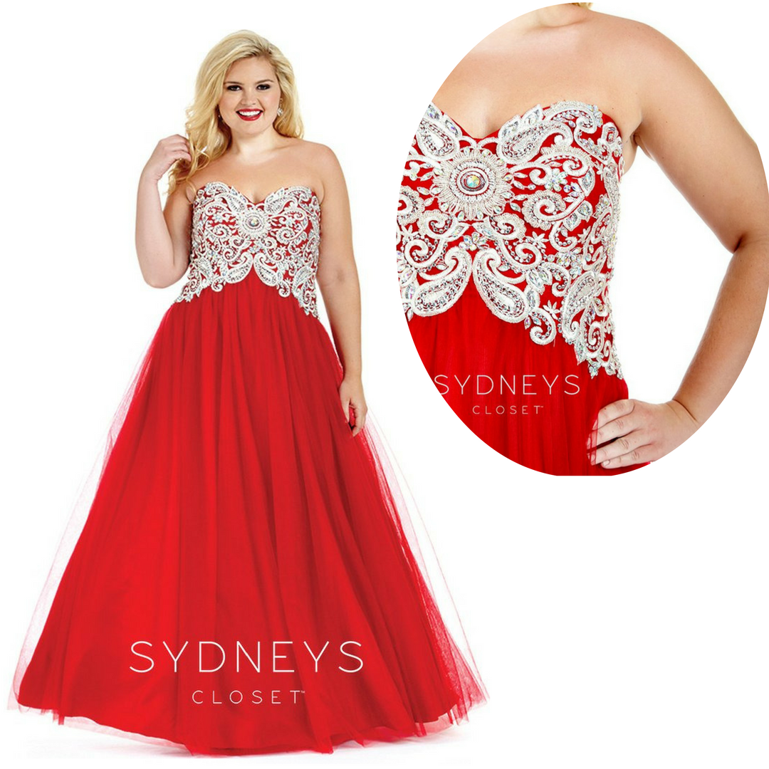 Romantic details make this long red plus size gown ready for ...