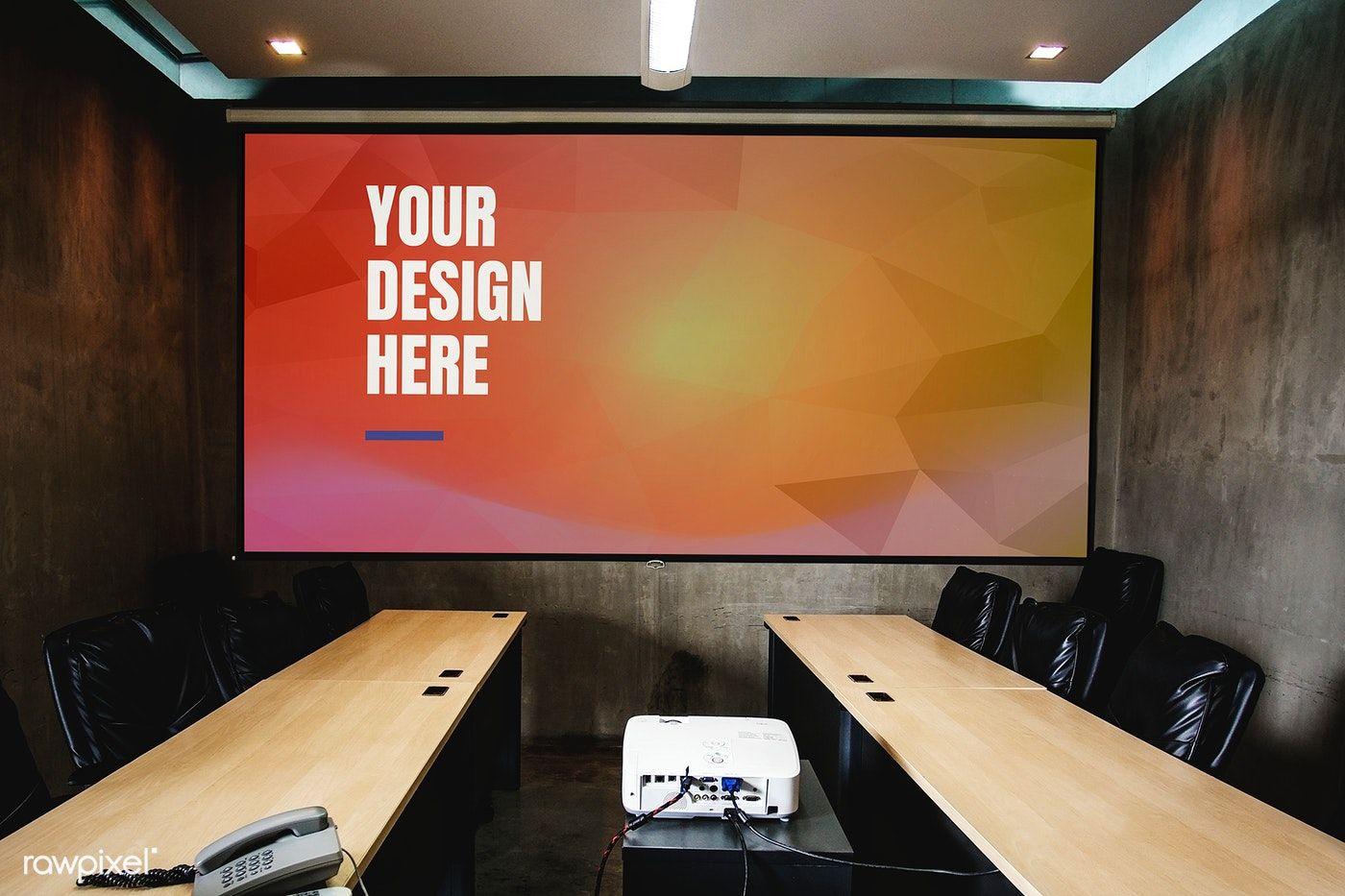 Download Premium Psd Of Projector Screen Mockup In A Meeting Room 894864 Mockup Meeting Room Projector Screen