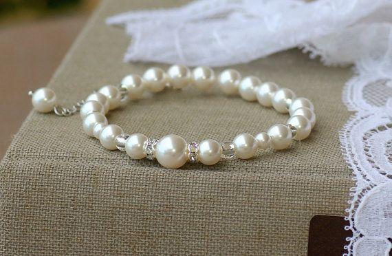 Elfenbein Perlmutt Braut Armband Swarovski Perle von JamJewels1