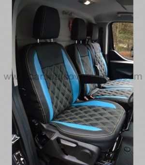 Ford Transit Custom Seat Covers Black With Blue Inserts