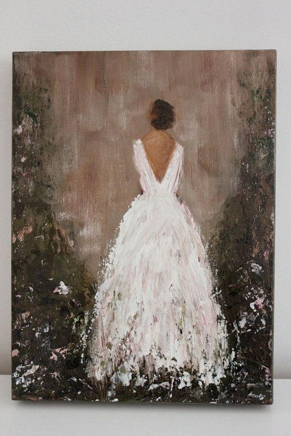 original figurative painting ever after 9 x 12 x 1 5 garden gown swalla studio gemalte bilder. Black Bedroom Furniture Sets. Home Design Ideas