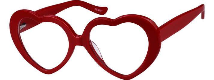 466de790684 Zenni Prescription Acetate Plastic Heart-Shaped Glasses (Frame  4420218) in  Glossy Red