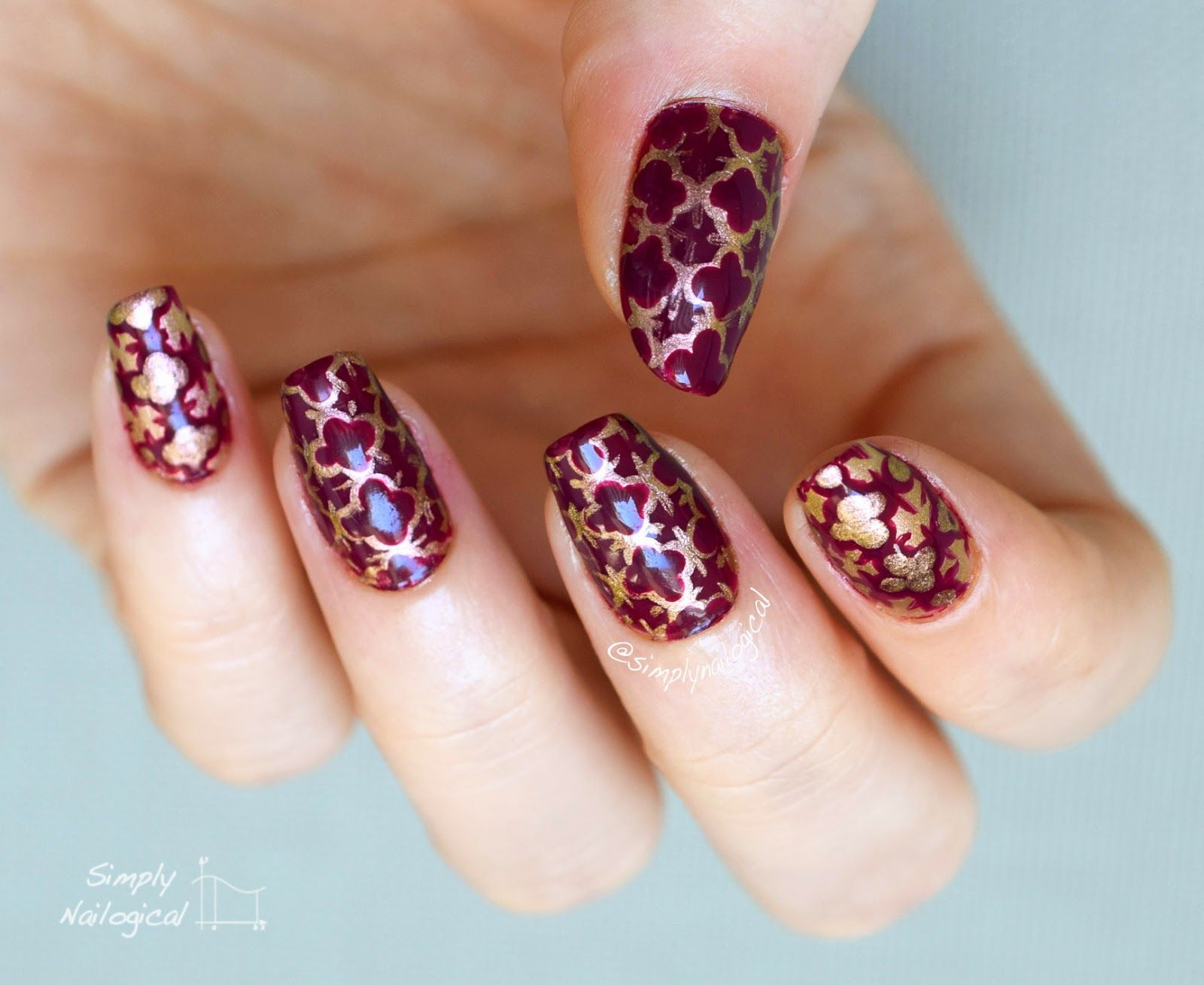Magenta and gold quatrefoil: Second attempt by simplynailogical - nail art, dotticure