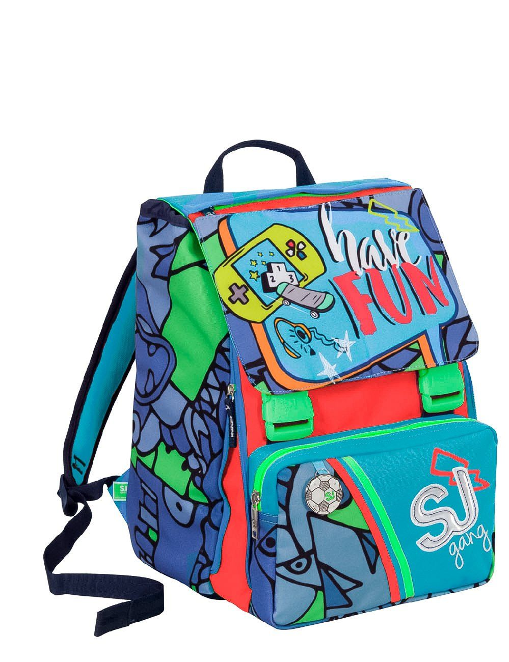 5061c61f9b Doubling backpack SEVEN - SJ BOY - Expandable - FLIP SYSTEM - Blue Red - 28