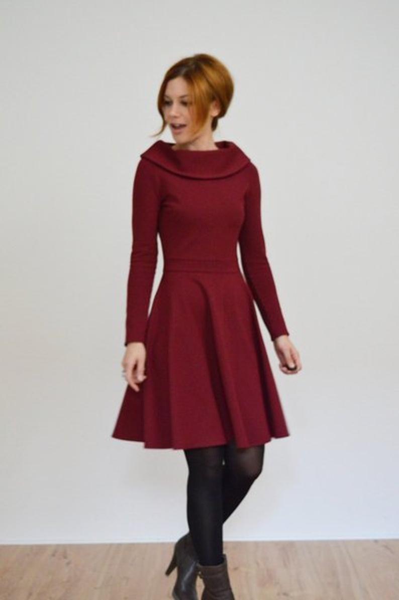 Jerseykleid LUCKY IN LOVE mit Kragen und Tellerrock Vintage Stil 50er Jahre Standesamtkleid