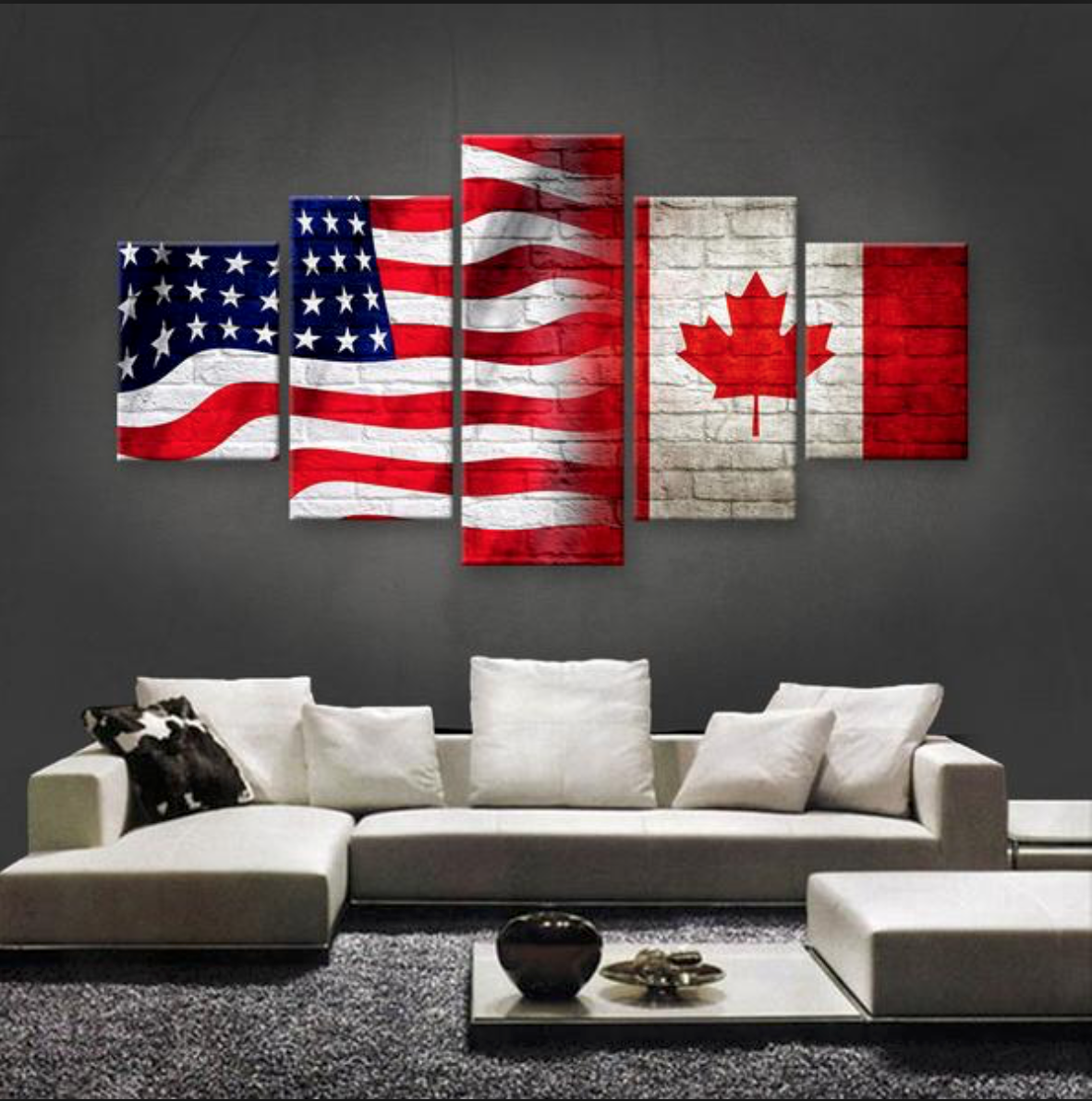 Flag wall art 5 panel American large wall canvas Mexican