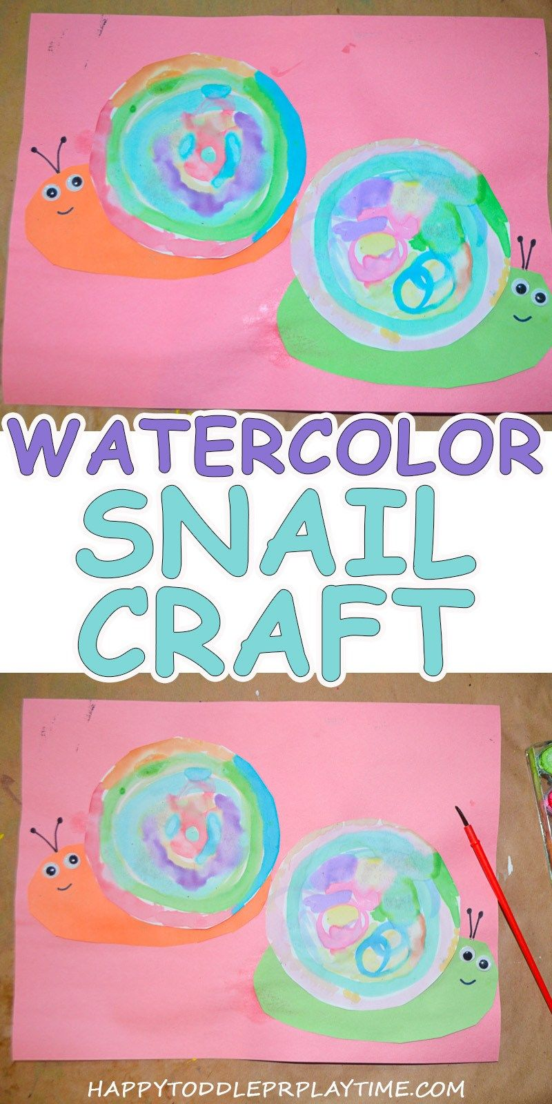 Watercolour Snails Creative Art Activities For Toddlers Summer