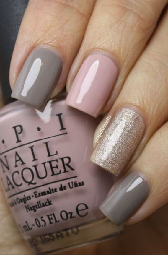Blush Pink and Taupe Nails. OPI