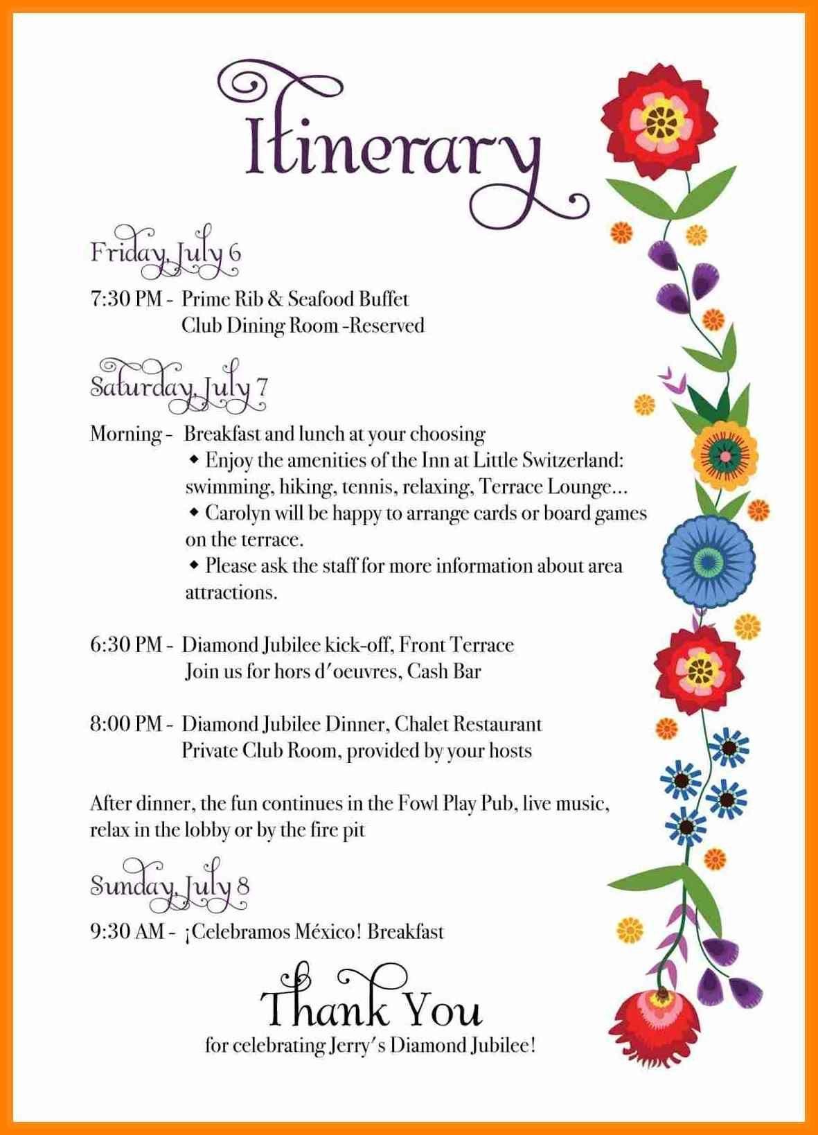 Itinerary Template Itinerary Template Wedding Day Itinerary
