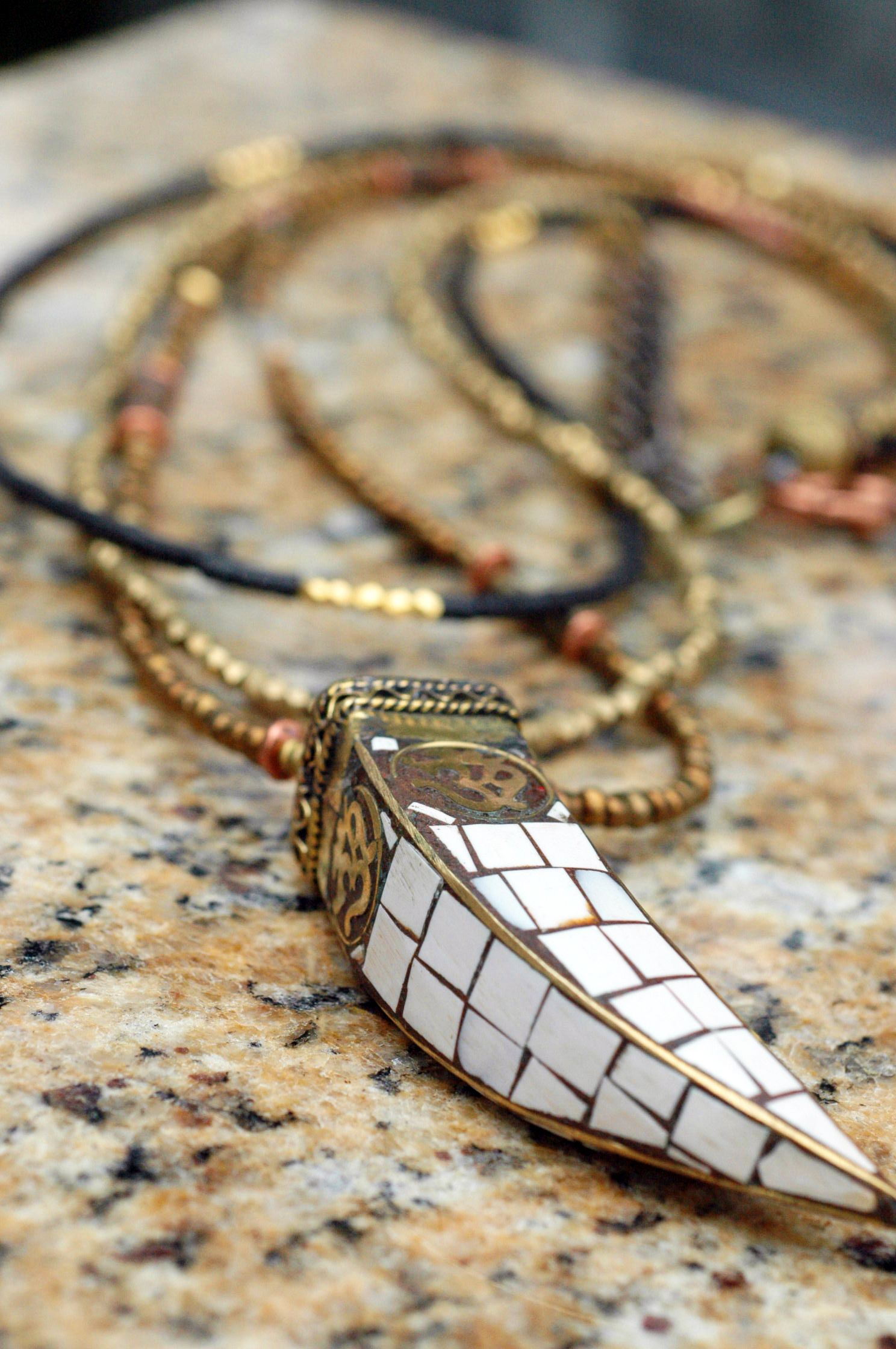Exotic Mosaic Conch Shell and Tibetan Tusk Om Pendant Necklace