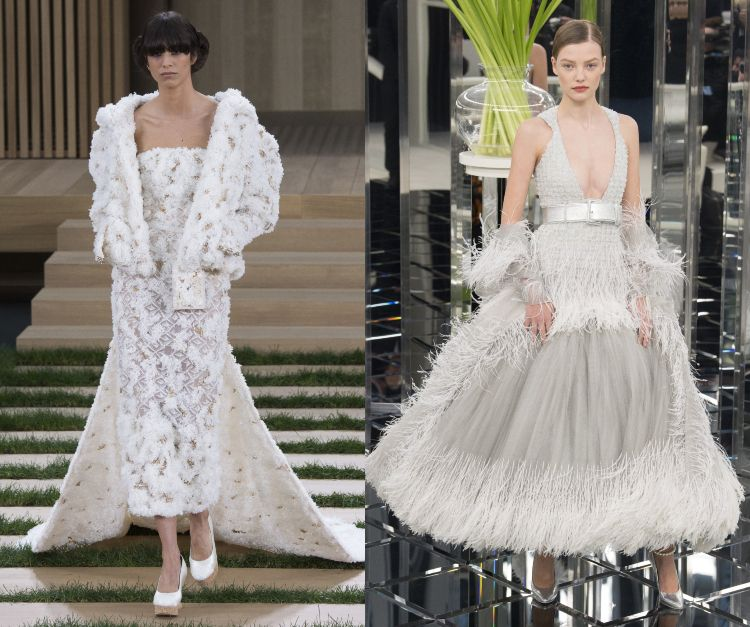 Karl Lagerfeld Chanel Fransen Abendkleider 3d Applikationen
