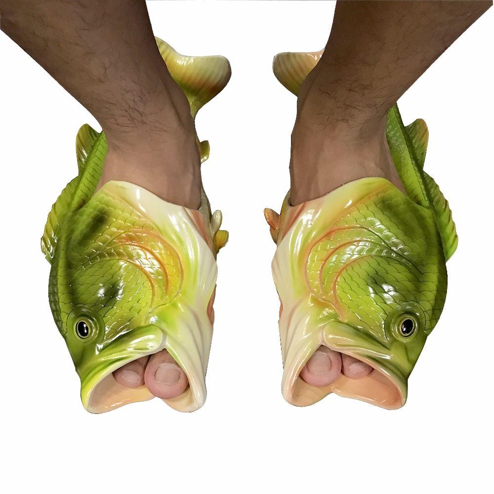 Women Men Kids Slippers Beach Fish Shower Sandals Bling Flops Flip Funny Shoes