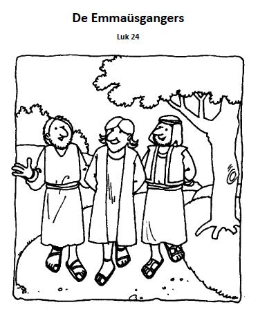 Kleurplaat Palmzondag De Emmausgangers Bijbelse Werkjes Bijbel Kleurplaten