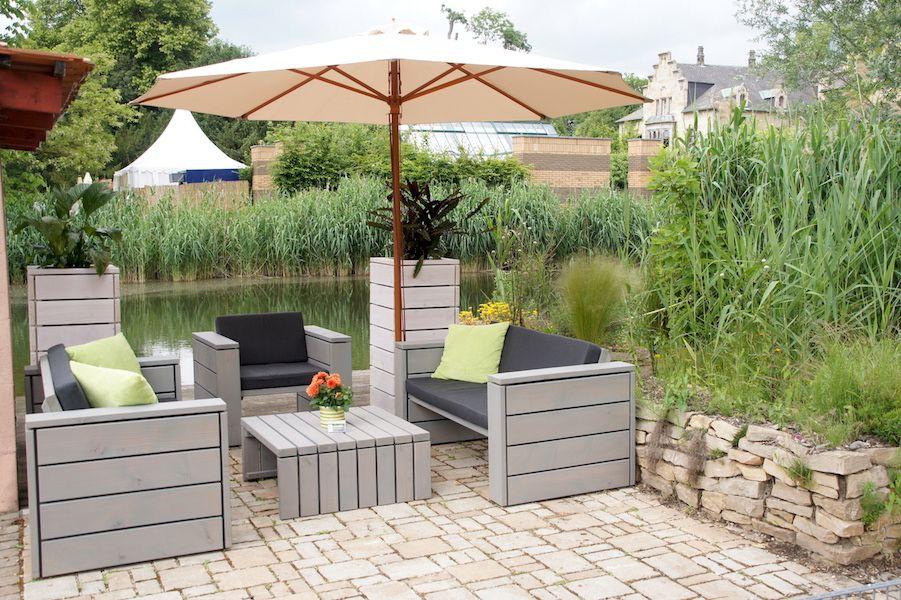 Loungemöbel Gartenmöbel in Grau Geölt, mit Polstern aus - loungemobel garten grau