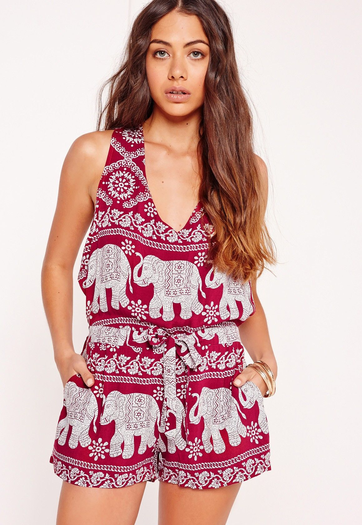 99715367c96d Missguided - Crepe Elephant Print Playsuit Red