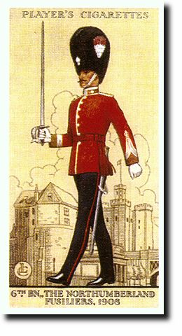 Northumberland Fusiliers officer (Newcastle castle in the background)