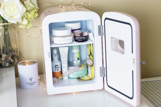 What I Keep in My Skincare Fridge  A Good Hue is part of Beauty hacks - Popular beauty blogger A Good Hue shares a peek inside her pink retro skincare fridge, including the skin care and beauty tools she prefers to keep chilled