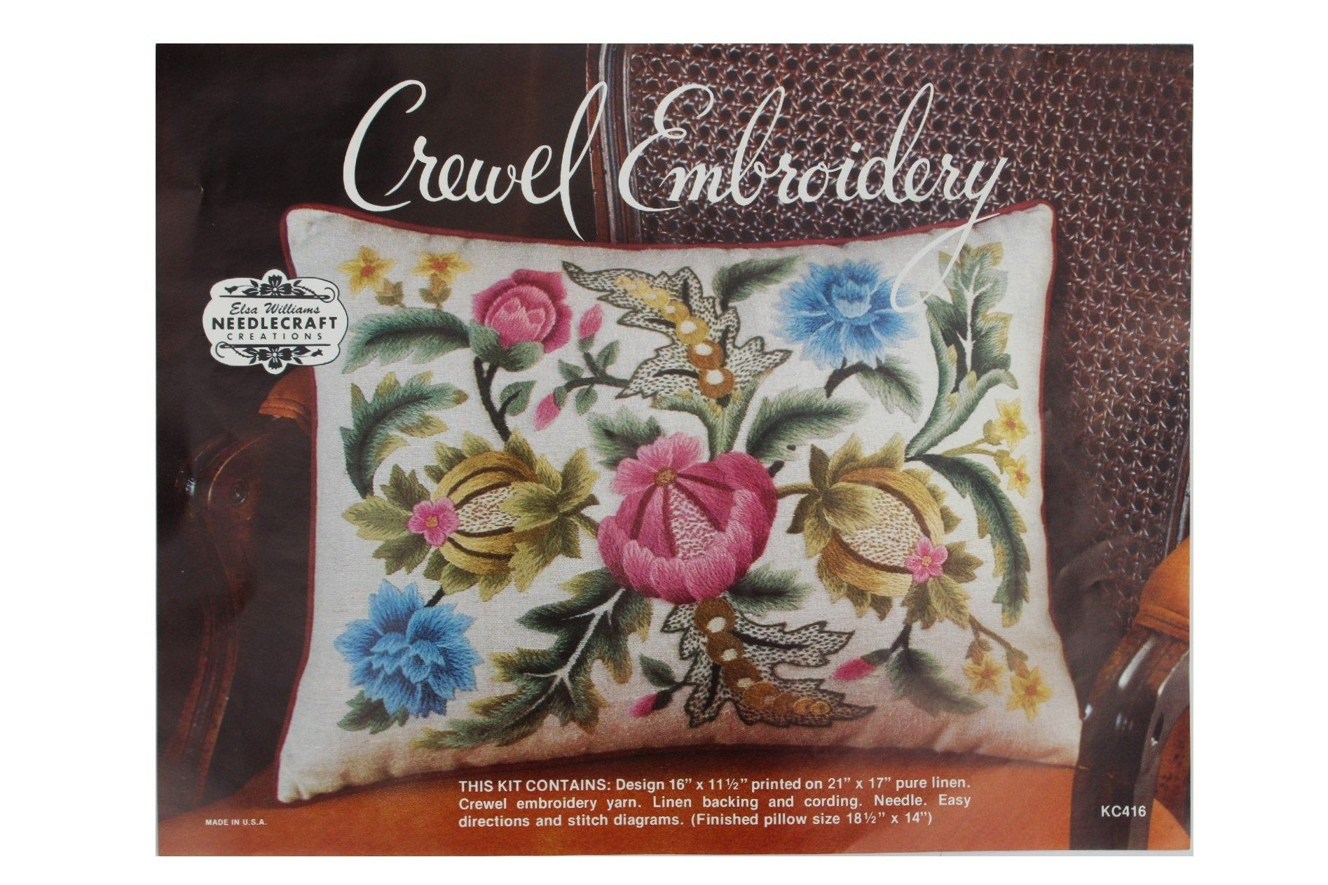 Two Bright Vintage Crewel Embroidery Printed Linen Kits