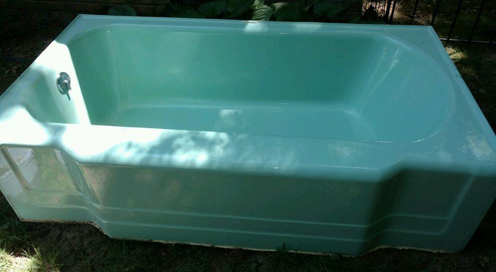 VINTAGE 1950\'s Green Cast Iron Bath Tub matching porcelain RHEEM ...