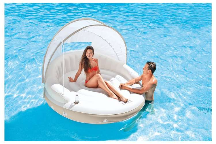 Intex Canopy Island 78 Inch X 59 Inch Inflatable Water Lounge Raft With Air Pump Pool Canopy Pool Floats Floating Canopy