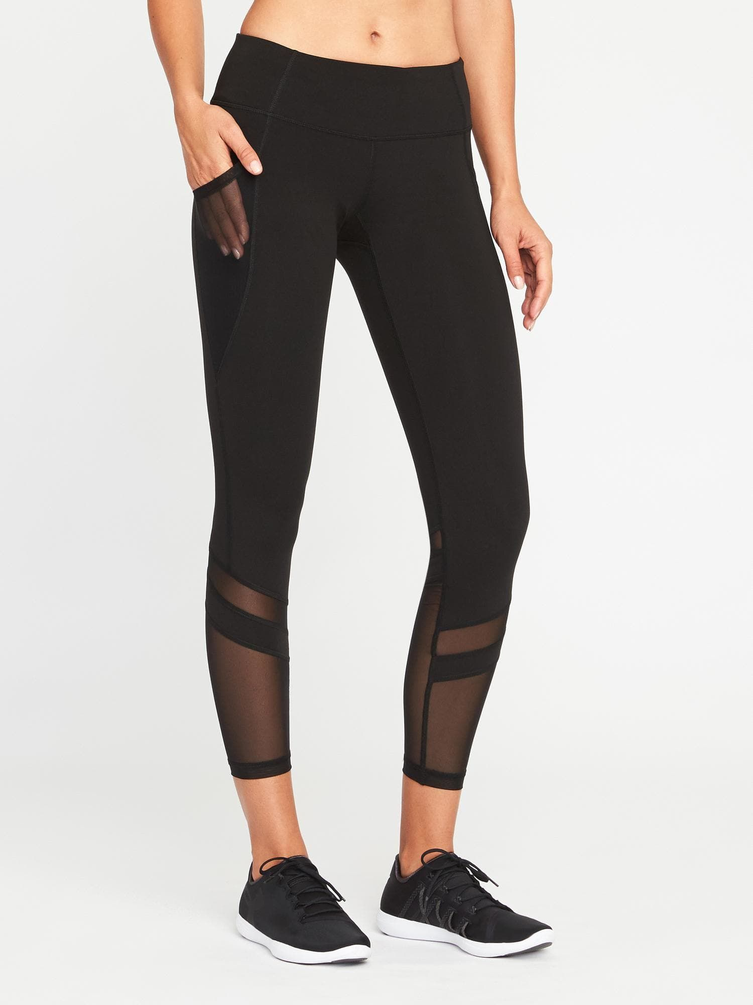 aea95df4cc Mid-Rise 7/8-Length Mesh-Panel Compression Leggings for Women | Old Navy