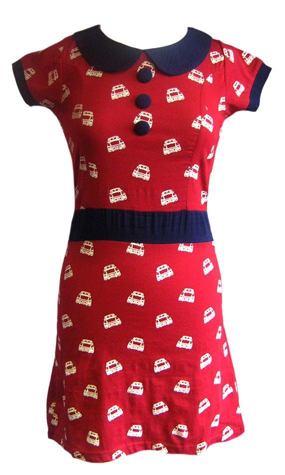 Retro Vintage Inspired 60s Style Red Mini Print Dress