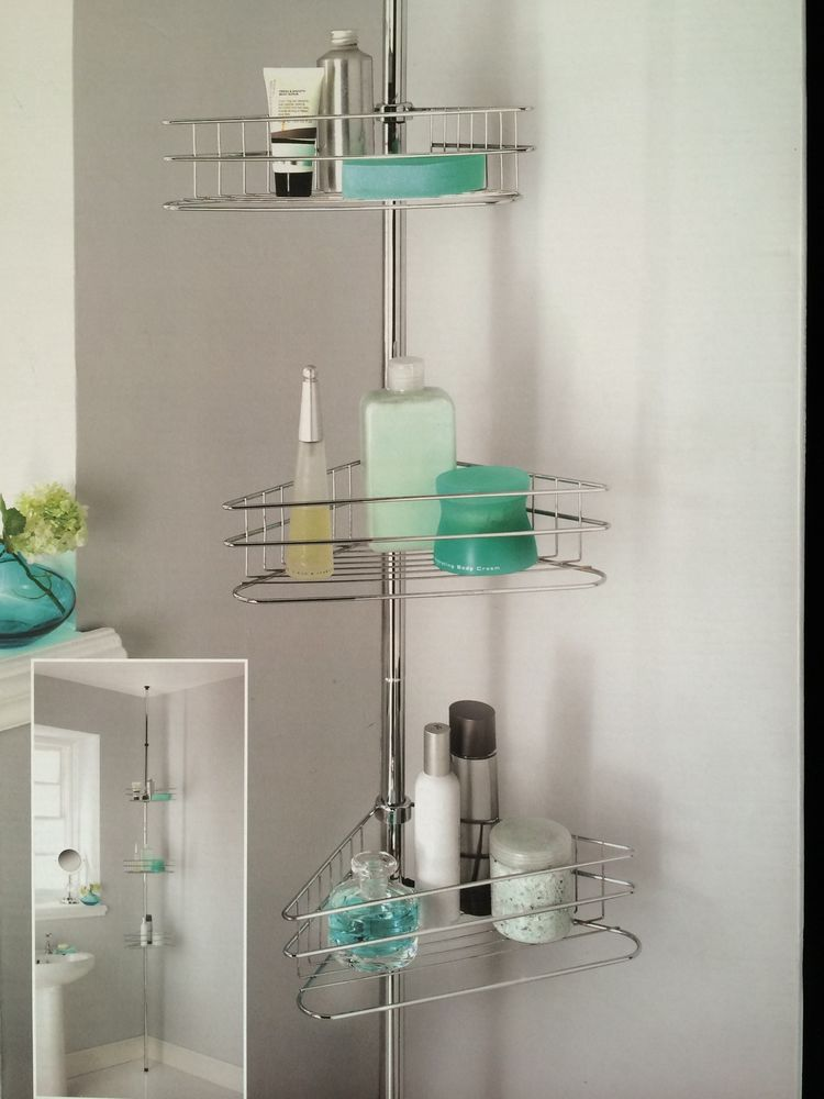 3 Tier Bath/Shower caddy Tension Rod Bathroom Corner Shelf Unit For ...
