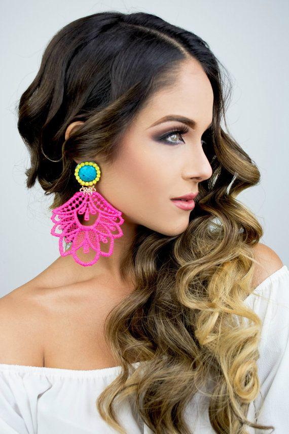 Long Hippie Earrings Gypsy Long Earrings Pink Chandelier ...