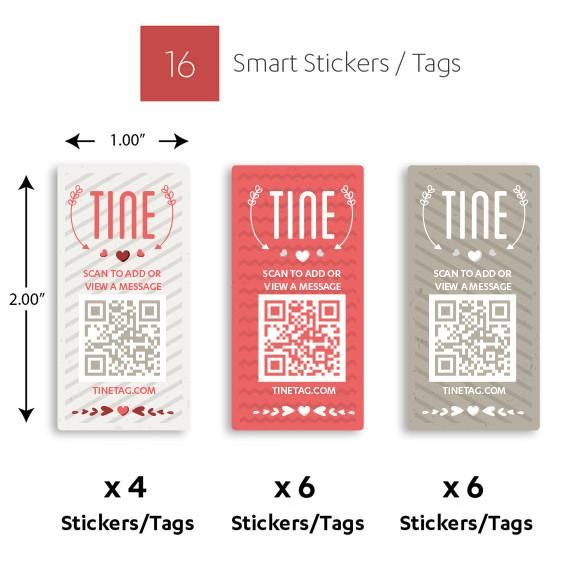Premium Sweetheart Theme Stickers/Tags 16 Count