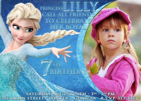 Disney frozen birthday party invitation card digital file girl disney frozen birthday party invitation card digital file girl princess elsa stopboris Images