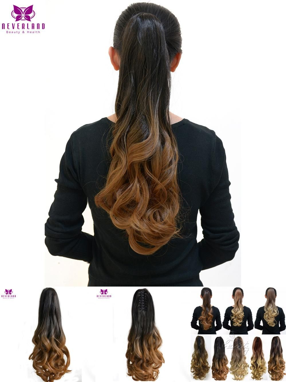 Visit To Buy Neverland 20 5 Colors Brown Ombre Ponytails Hair Extensions Wavy