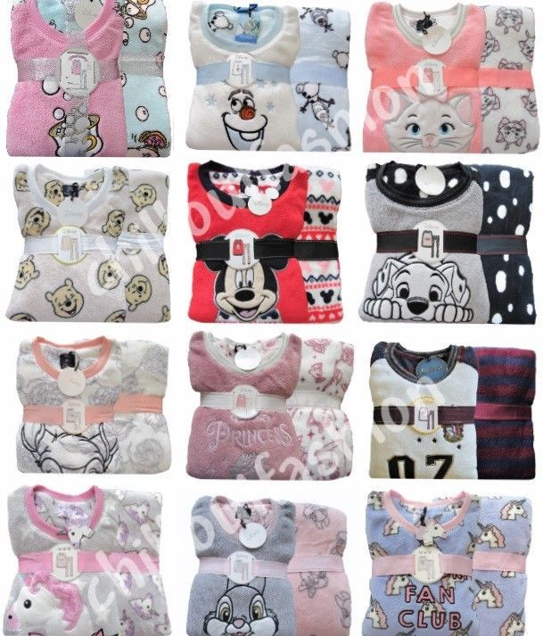 259ffc50f9a1 Ladies Fleece Pyjamas DISNEY Womens Girls PJs Nightwear Size UK 6 to ...