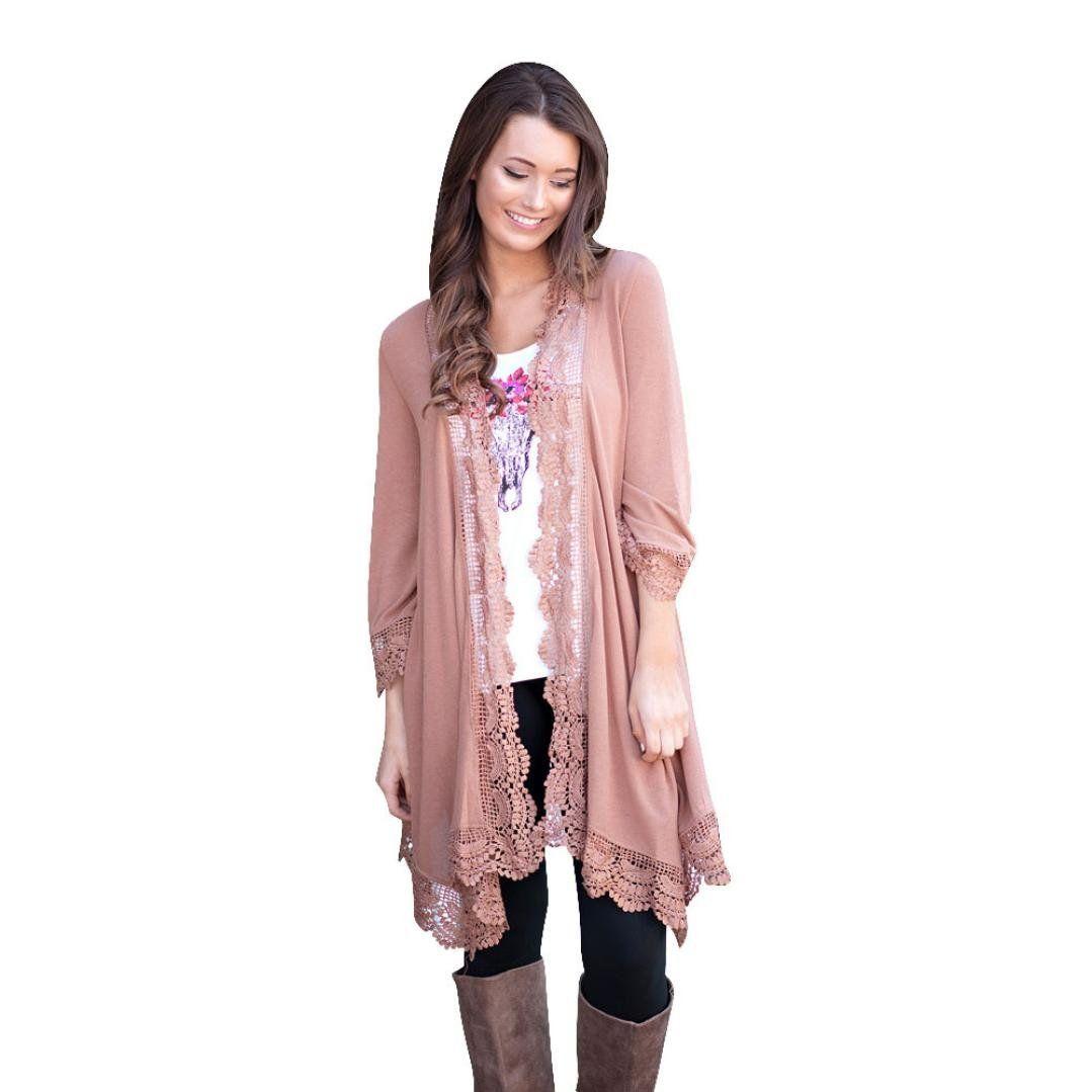 WensLTD Women Lace Irregular Shawl Kimono Cardigan Tops Cover Up ...
