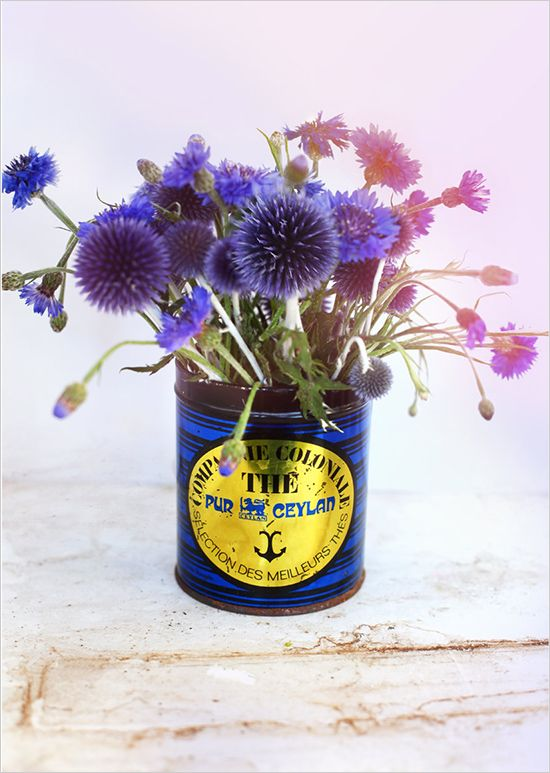 Purple Wedding Flowers in a vintage tin can