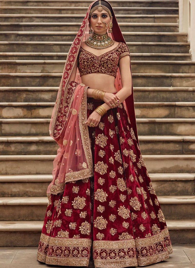 Exclusive Heavy Designer Beautiful Bridal Marron Color Floral Design Bridal Lehenga Choli Stylizone Indian Bridal Outfits Indian Bridal Wear Bridal Lehenga Red