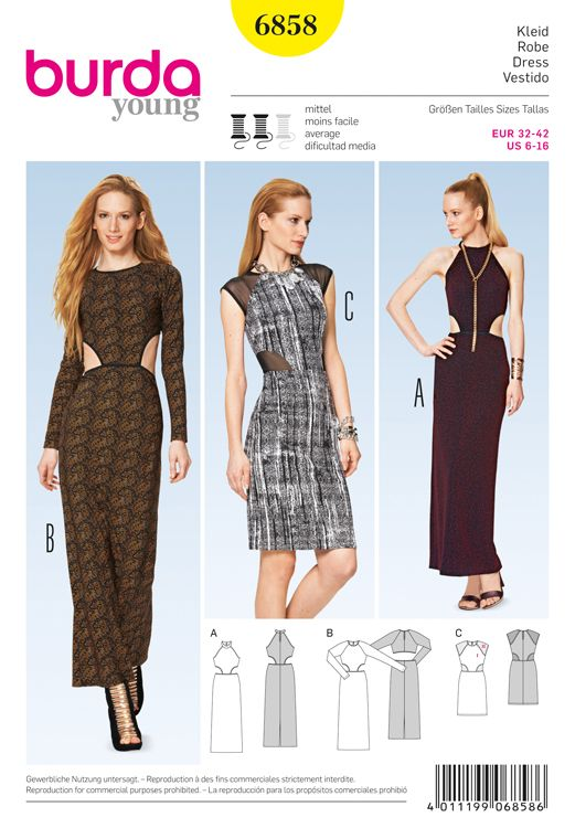 Evening Dresses Burda Sewing Pattern No. 6858. Size 6-16. | clothes ...