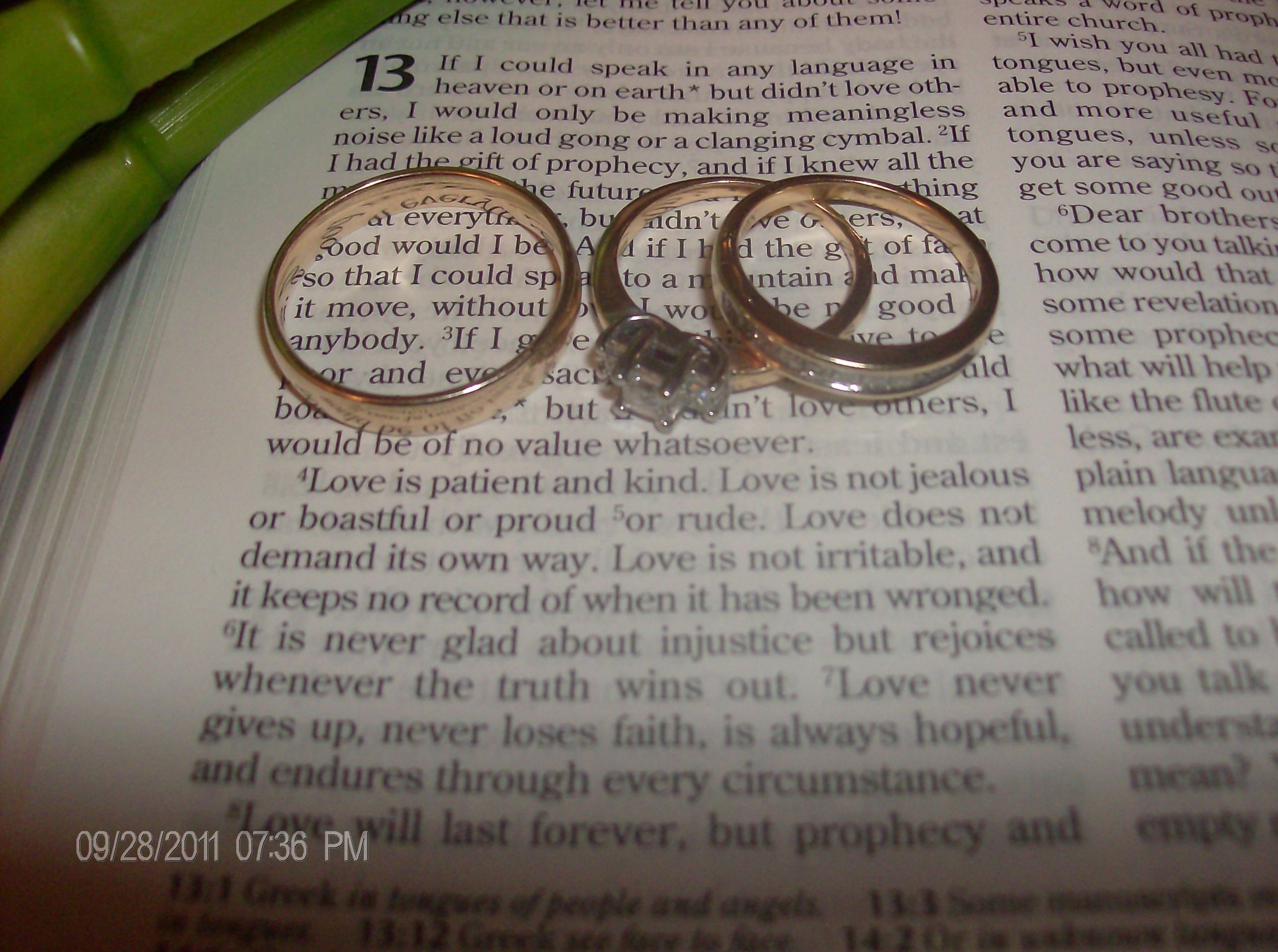 Our wedding rings on my favorite bible verse 1 corinthians 13 4 13