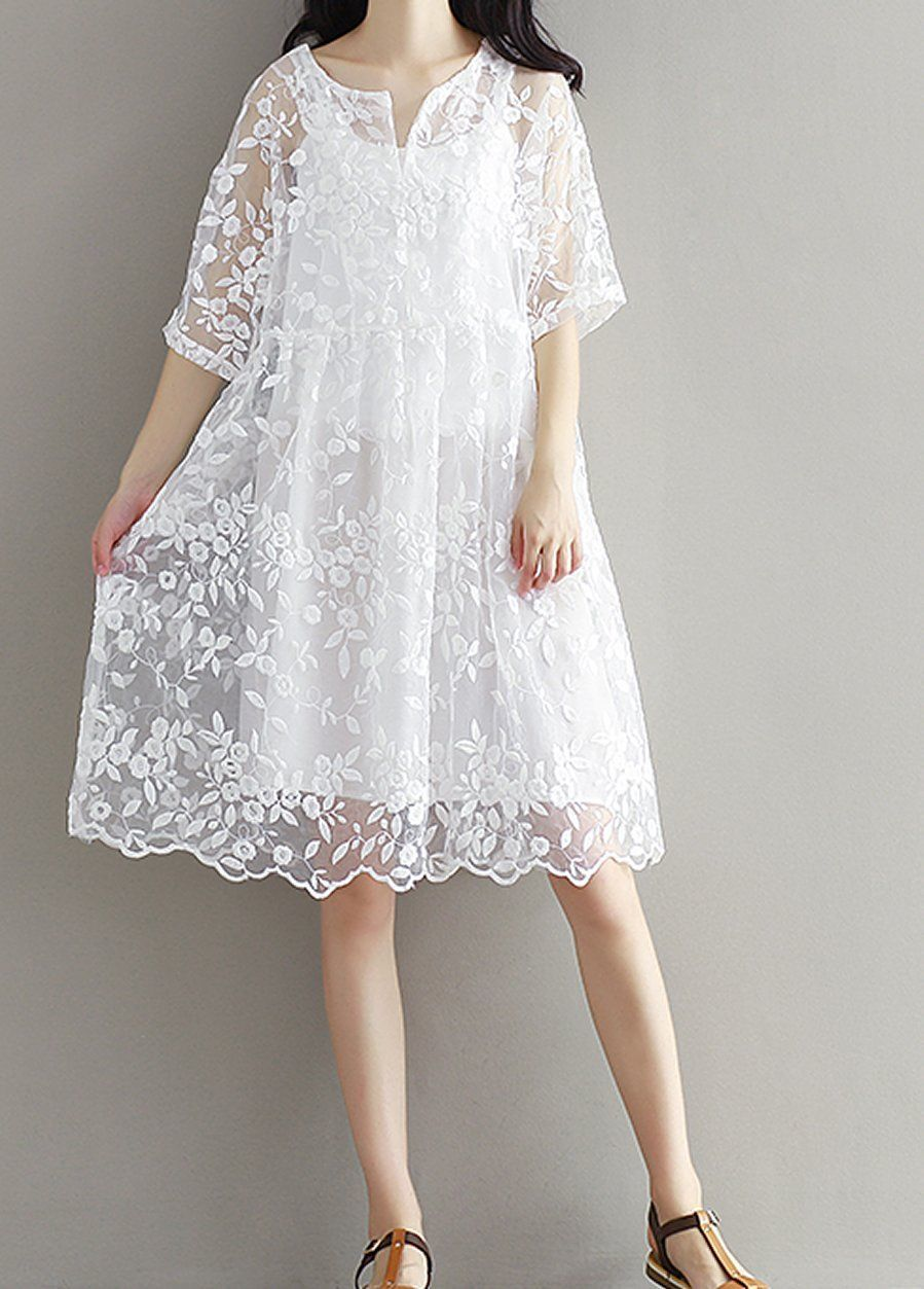 e255b2f3474 Women loose fitting plus over size white lace flower embroidered summer  wear chic sling. Sling free size elastic: bust: 88 cm (34.7