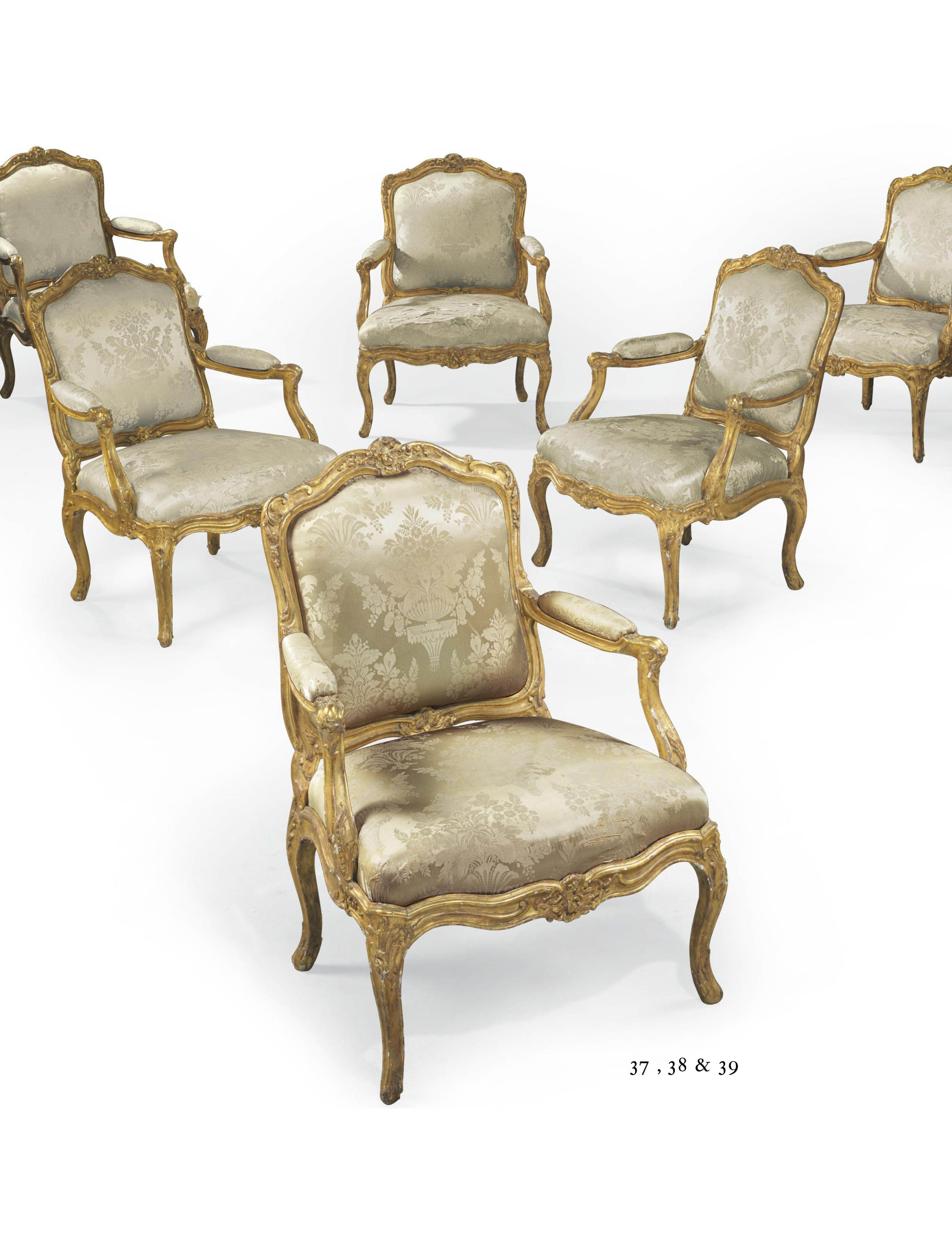 c1740 A PAIR OF LOUIS XV GILTWOOD FAUTEUILS CIRCA 1740 Price realised USD 40,000