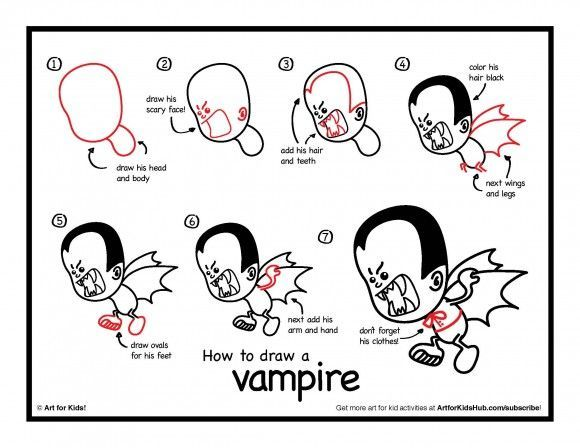download how to draw a vampire - How To Draw Halloween Things For Kids
