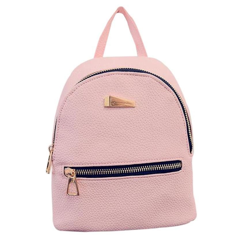 fa8490056618 Backpack Women Zipper Pocket Solid Color Backpacks For Teenage Girls ...