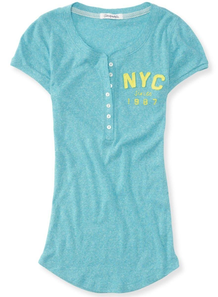 e14ac91358 Camiseta Aeropostale Feminina AERO APPLIQUE JERSEY – Verde - Figo Verde   Roupas importadas originais