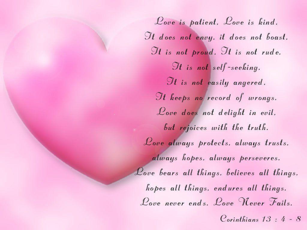 LOVE NEVER FAILS! Corinthians 13:4 - 8   ♥