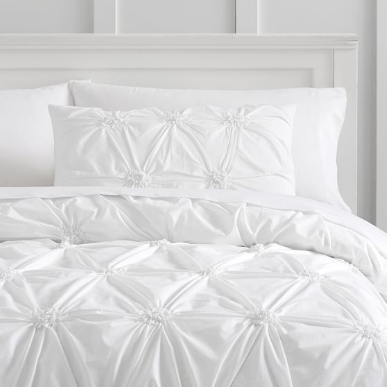 Ruched Rosette Organic Duvet Cover Full Queen White Bed Linens
