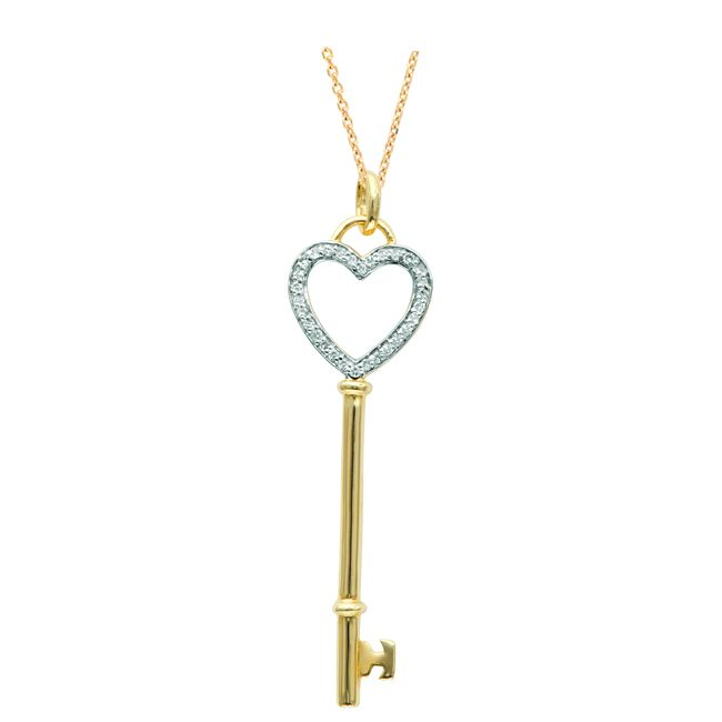 Sterling Silver 1/8ct TDW Diamond Heart Key Necklace