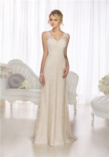 Influenced By The Fashion Houses Of Europe This Designer Sheath - Designer Wedding Dresses For Less