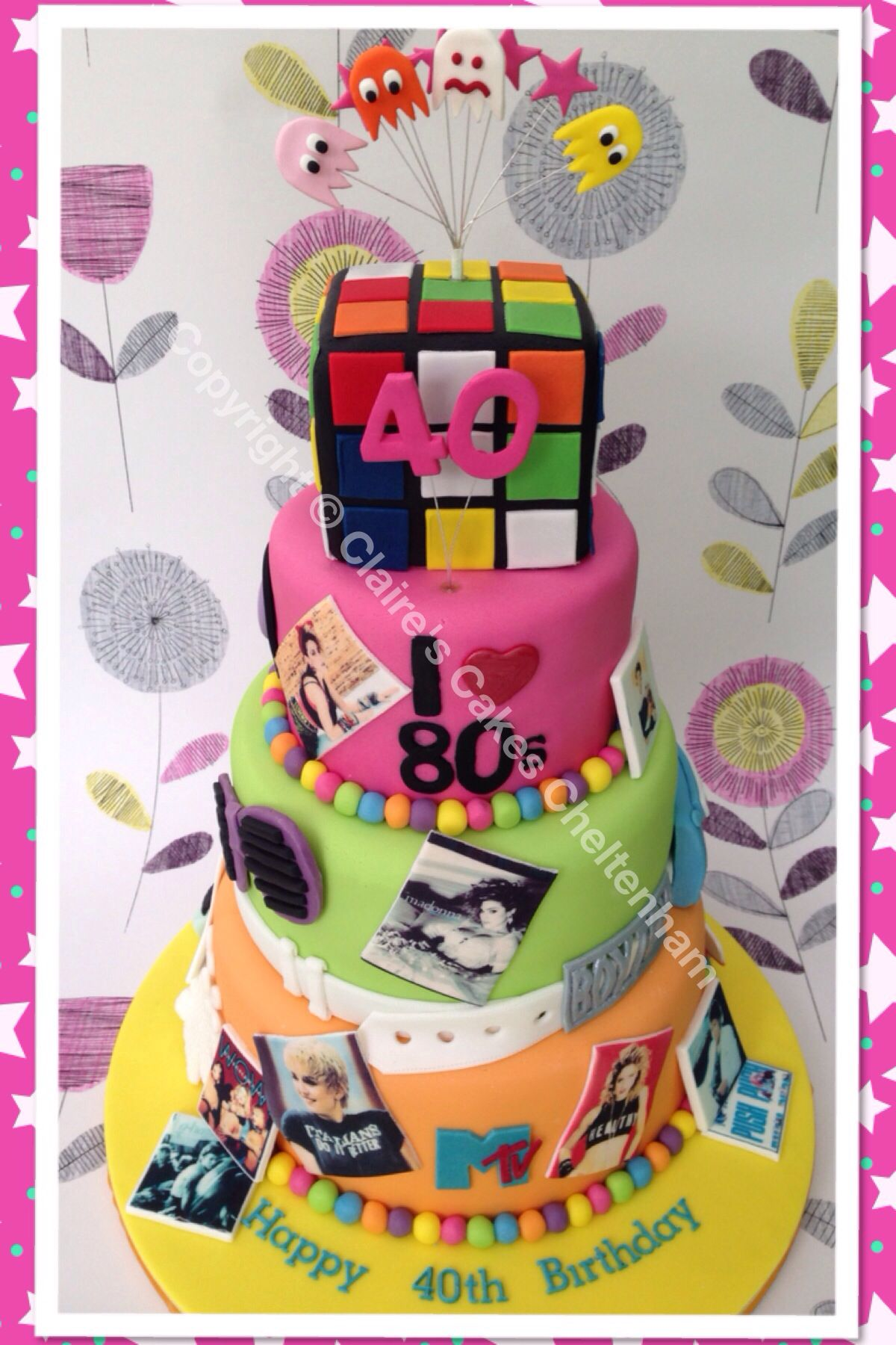Magnificent 80S Themed 3 Tier 40Th Birthday Cake With Images 40Th Funny Birthday Cards Online Barepcheapnameinfo