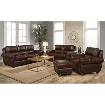 Austin 4-piece Top Grain Leather Living Room Set images