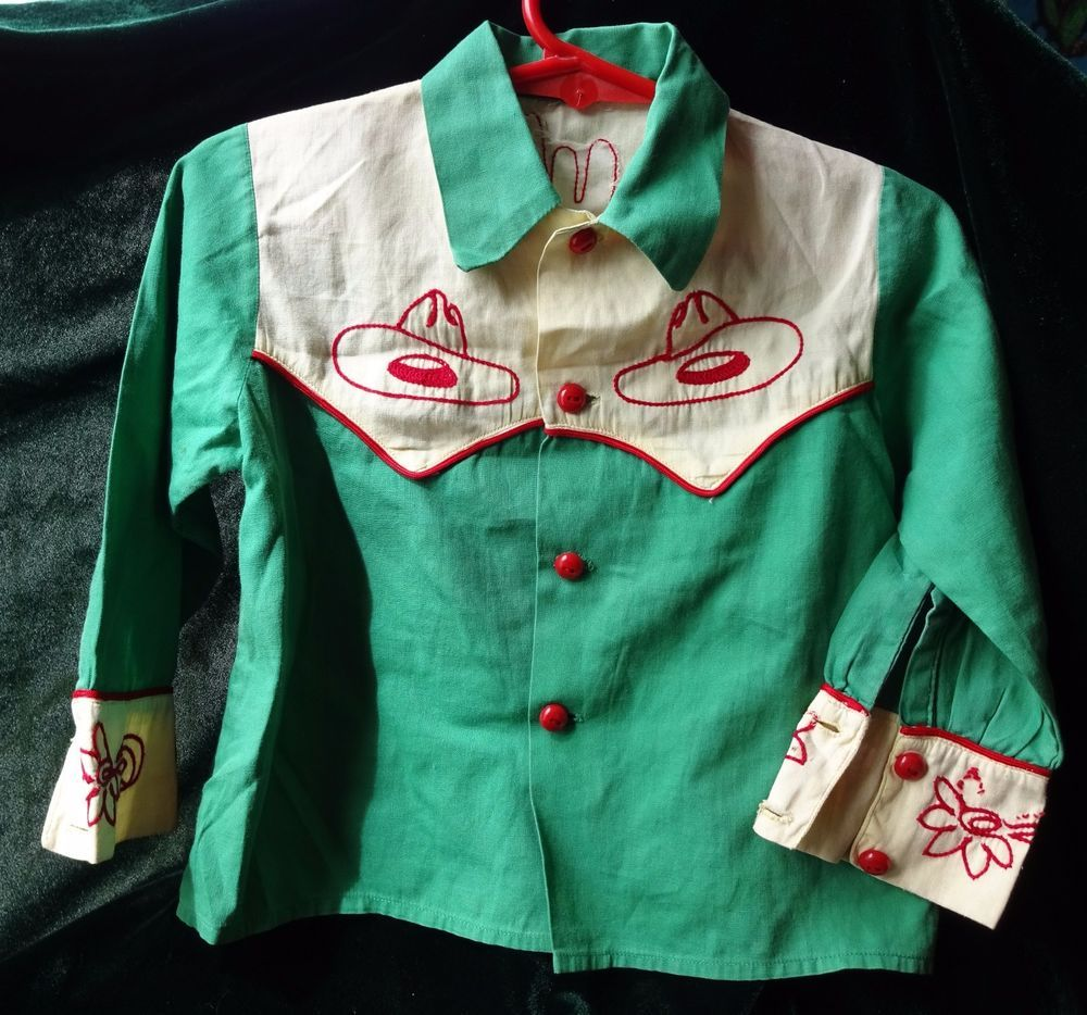 Childrens Cowboy Western Shirt Roy Rogers Era Embroidered Vintage 1940s  1950s de823b91c
